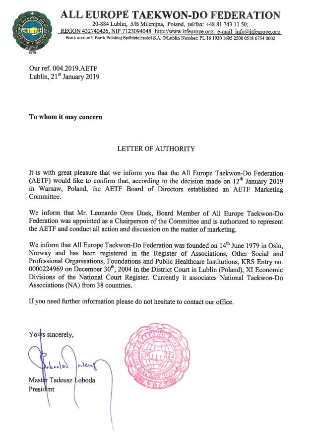 AETF Marketing Committee - All Europe Taekwon-Do Federation